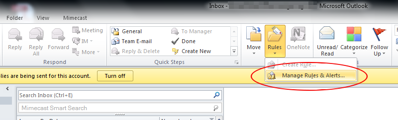 How to use MS Outlook rules to filter internal emails from