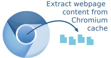Chromium logo with arrow to file icons, depicting the extraction of files from the Chromium browser cache