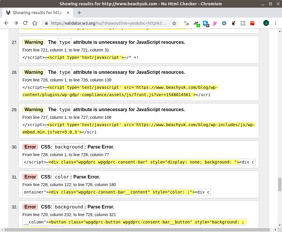 Screenshot of list of red (errors) and yellow (warnings) from a website HTML code standards scan by validator.w3.org